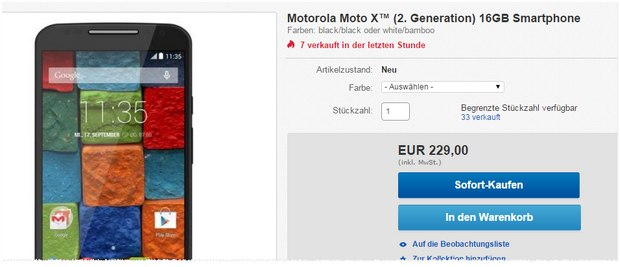 Motorola Moto X ohne Vertrag (2. Generation) für 229 €