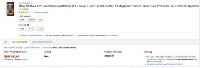 Motorola Moto X (2. Generation) ohne Vertrag bei Amazon
