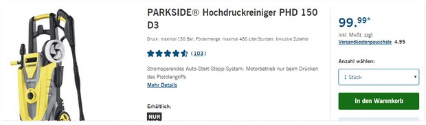 Hochdruckreiniger lidl angebot ab 25 for Idropulitrice parkside phd 150 opinioni