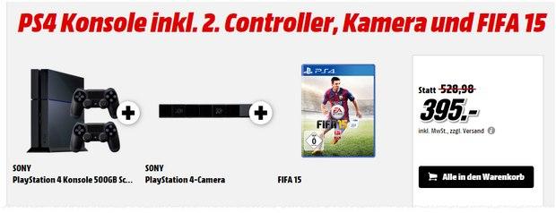 PlayStation 4 Megapaxk + FIFA 15 als Media Markt Schnapp des Tages am 16.7.2015