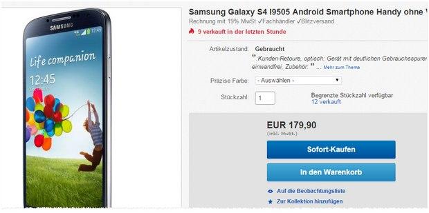 Samsung Galaxy S4 ohne Vertrag mit deutlichen Gebrauchsspuren