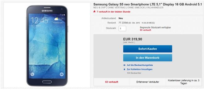 Samsung Galaxy S5 Neo Angebot ohne Vertrag bei eBay
