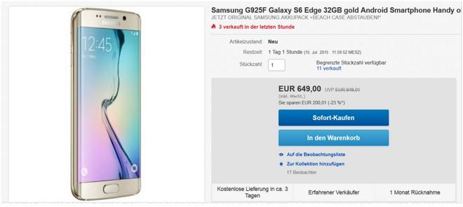 Samsung Galaxy S6 Edge ohne Vertrag + Sommerpaket abstauben
