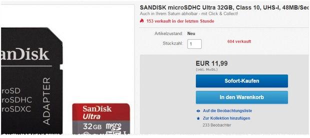 SanDisk Micro SDHC Speicherkarte 32 GB bei Saturn für 11,99 €