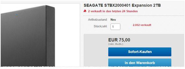 Seagate Expansion Desktop Festplatte mit 2 TB Speicher nur 75 € bei Media Markt