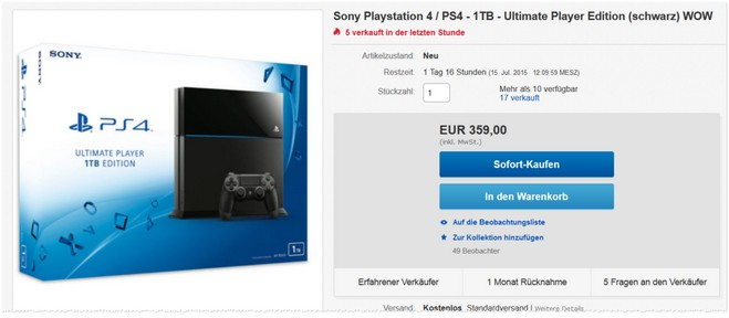 Sony PlayStation 4 als Ultimate Player Edition