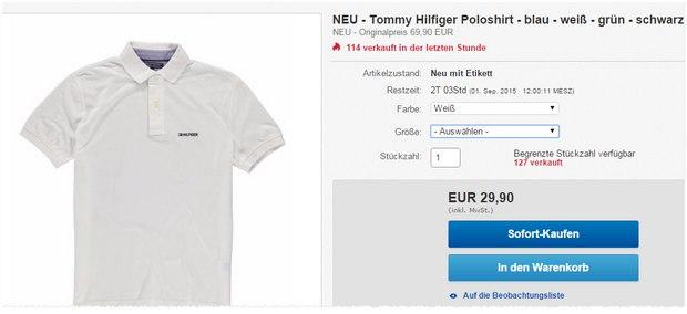 Tommy Hilfiger Polos bei Engelhorn als Sonntagsangebot am 30.8.2015 nur 29,90 € + 30% Gutschein - effektiv ab ca. 21 €?