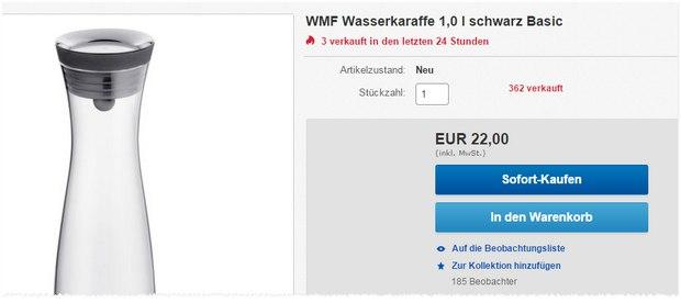 WMF Wasserkaraffe Basic bei Media Markt für 22 €