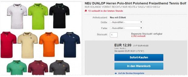 Dunlop-Polos bei eBay für 12,99 € (WOW der Woche)