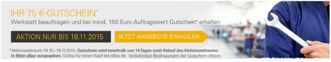 eBay Motors: eBay Gutschein im Wert von 75 Euro bei 150 Euro Auftragswert