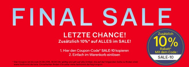 Fashion ID Gutschein im Finale Sale: 10 Prozent extra