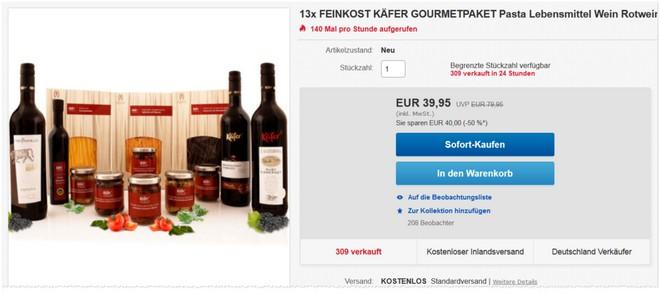 Feinkost Käfer Gourmetpaket bei eBay im Angebot