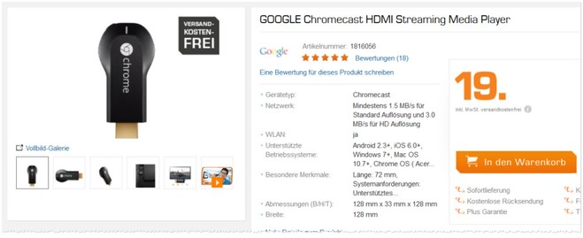 Google Chromecast Stick als Saturn-Prospekt-Angebot