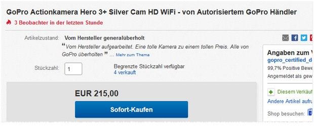 GoPro Hero 3+ Action-Cam generalüberholt für 215 €