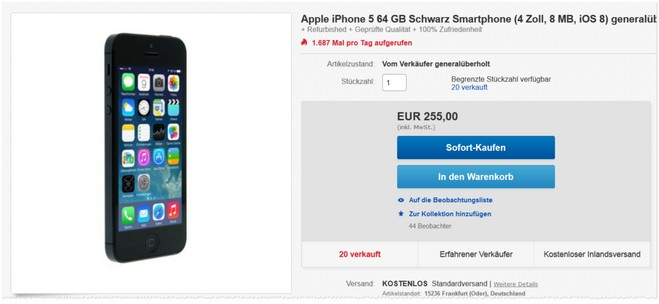 generalüberholtes iPhone 5 bei eBay