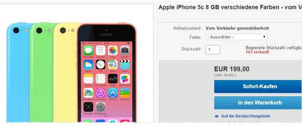 iPhone 5C B-Ware für 199 €