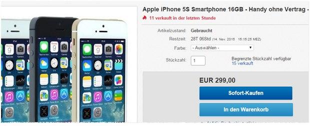 Endlich unter 300 €: Apple iPhone 5S ohne Vertrag als generalüberholte B-Ware für 299 €