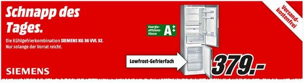 Media Markt Schnapp des Tages Werbung vom 28.8.2015: Siemens KG36VVL32 für 379 €