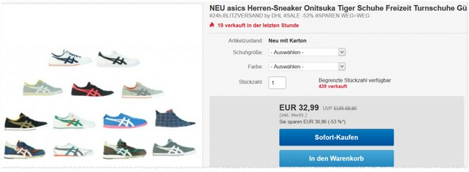 Asics Onitsuka Tiger Sneaker als eBay-Angebot günstig kaufen
