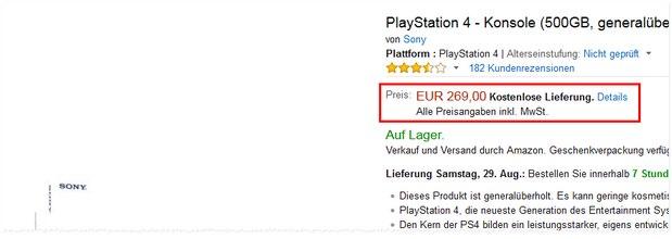 PlayStation 4 generalüberholt für 269 € als Graded Product