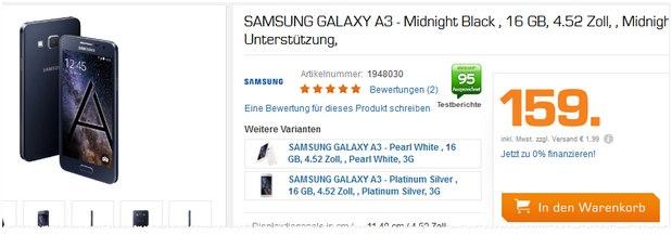 Samsung Galaxy A3 als Saturn-Angebot für 159 € am 31.8.2015