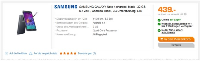 Samsung Galaxy Note 4 als Saturn Prospekt Deal