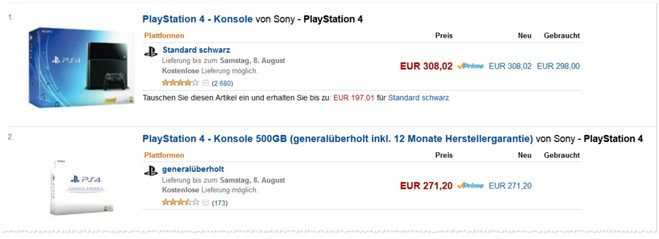 Sony PlayStation 4 bei Amazon as Konter der MM 20 Prozent Aktion