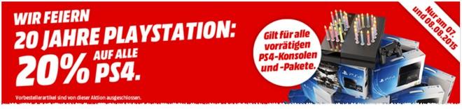 Sony PlayStation 4 Angebot aus der Media Markt Werbung ab 7.8.2015