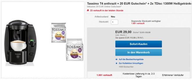 Tassimo Angebot beim eBay WOW Wochenende am 5.12.2015