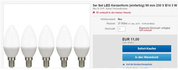 5x Basetech E14 LED-Kerzenlampen für 11 € bei Conrad Electronic