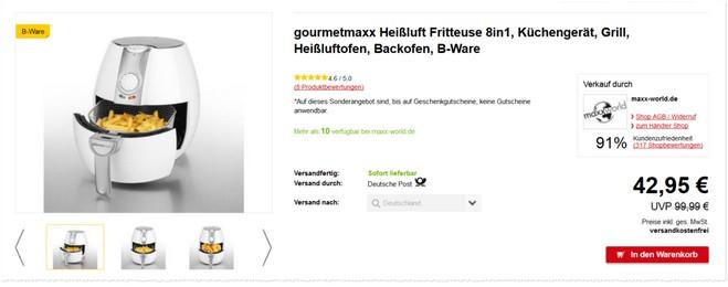 Gourmetmaxx 8 in 1 Heißluft-Fritteuse