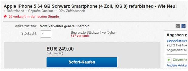 Apple iPhone 5 ohne Vertrag: Generalüberholtes Gerät (64 GB) für 249 € über asgoodasnew