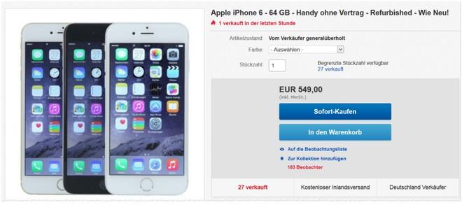 iPhone 6 ohne Vertrag so gut wie neu