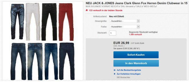 Jack & Jones Jeans im eBay-Verkauf