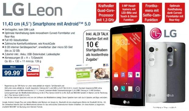 LG Leon ohne Vertrag als ALDI-Nord-Angebot ab 17.9.2015 für 99,99 € inkl. Prepaid-Karte