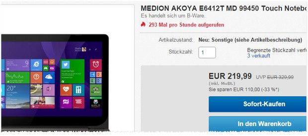 Sonntagsvorteil: Medion Akoya E6412T MD 99450 als B-Ware 219,99 € - bei ALDI Anfang 2015 noch für 349 € im Angebot