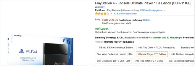 PlayStation 4 Ultimate Player 1TB Edition für 299 € bei Amazon
