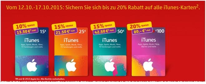 Rabatt-Aktionen für die iTunes Karten