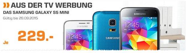 Samsung Galaxy S5 mini ohne Vertrag als Saturn-Angebot bis Montag, 28.9.2015, für 229 €