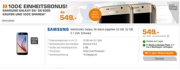 Samsung Galaxy S6 ohne Vertrag mit 100 € Einheitsbonus