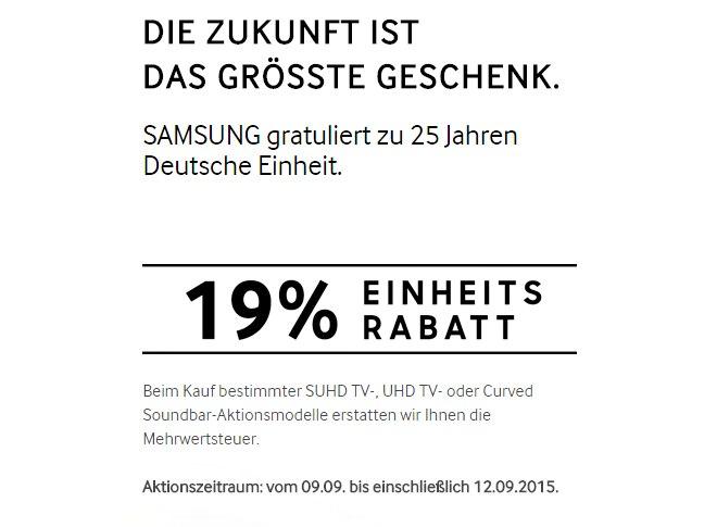 19% Samsung Mehrwertsteuer-Aktion zur Deutschen Einheit