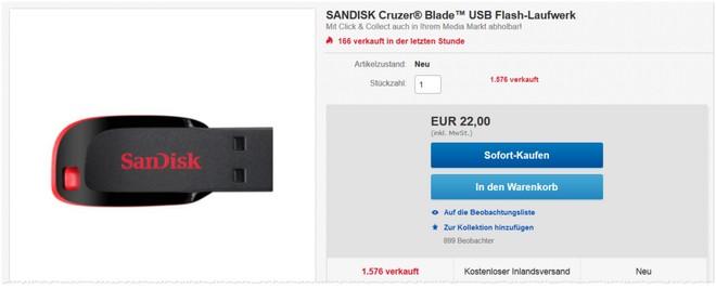 SanDisk USB-Stick Cruzer Blade mit 128 GB