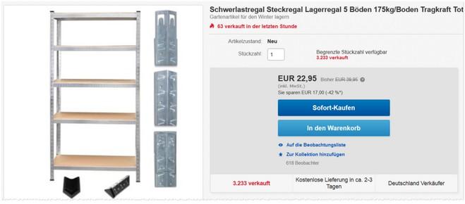 Schwerlastregal bei eBay günstig kaufen