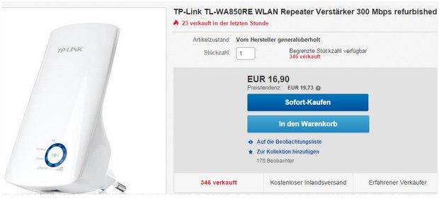WLAN-Repeater TP-Link TL-WA850RE generalüberholt für 16,90 €