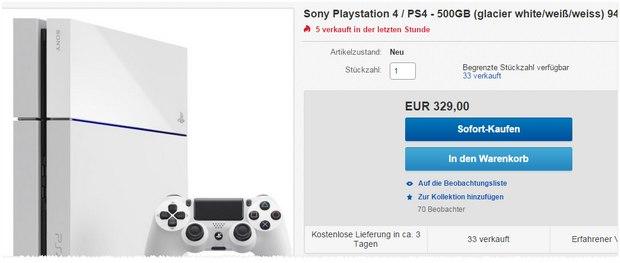 PlayStation 4 in Weiß inkl. Controller für 330 €