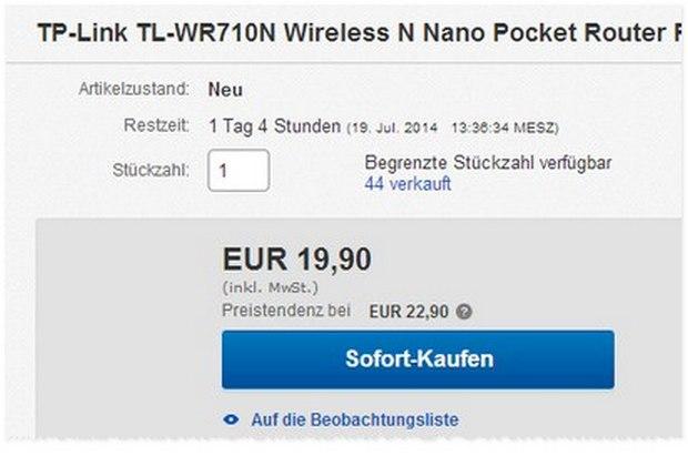 TP-Link TL-WR710N: Nano-Router zum Outlet-Preis von 19,90 €