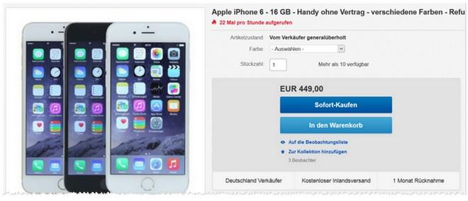 Apple iPhone 6 16GB als Refurbished-Gerät