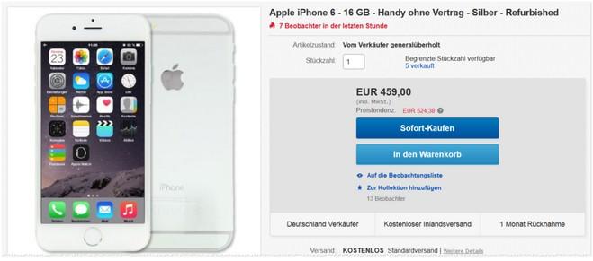 Refurbished-Deal für das Apple iPhone 6 mit 16 GB in der Farbe Silber