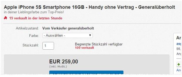 Apple iPhone 5S ohne Vertrag als generalüberholte B-Ware für 259 €