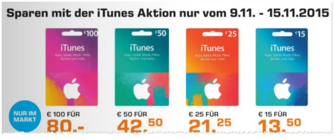 iTunes-Rabatt im November 2015 bei Saturn